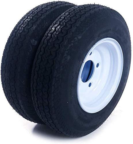 "Roadstar Pair of 2 Trailer Tires & Rims 480-8 4.80-8 4.80 x 8 Load B 5 Lug/4.5"" Hole Bolt White Spoke Wheel"