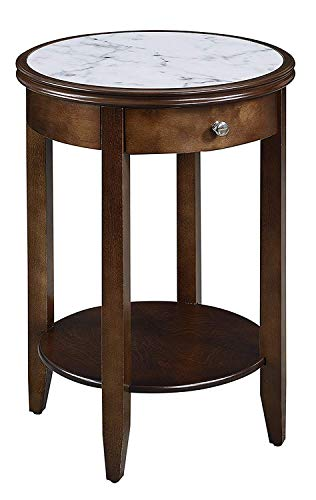 Convenience Concepts American Heritage Baldwin End Table with Drawer, White Marble / Espresso