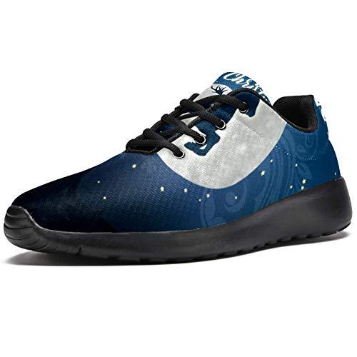TIZORAX Zapatillas de correr para hombre, diseño de reno navideño en la noche estrellada, luna llena, de malla, transpirables, para caminar, senderismo, tenis, color Multicolor, talla 40 2/3 EU