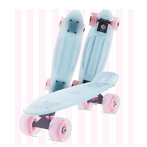 FANGNVREN Kinder- Skateboard Mini Cruiser Skateboard Cruiser Brett Kunststoff-Skateboard 22