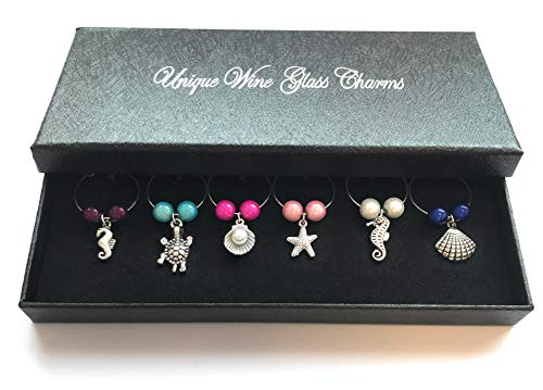 Libby's Market Place Sea Creatures Wine Glass Charms with Gift Box