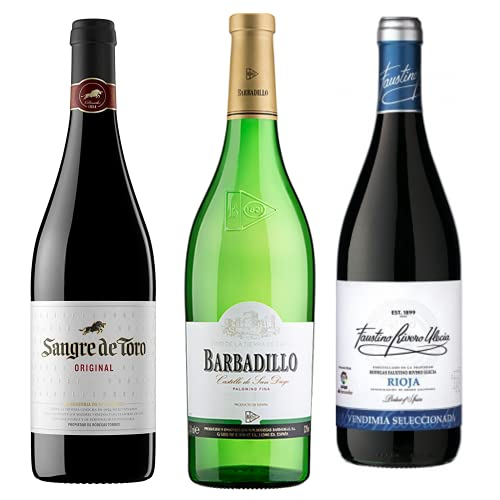 Vino para regalar - Caja de vino tinto y blanco verdejo D.O + Paleta de cebo Ibérico 90gr. I Sangre de Toro, Barbadillo, Faustino Joven I Regalo Original