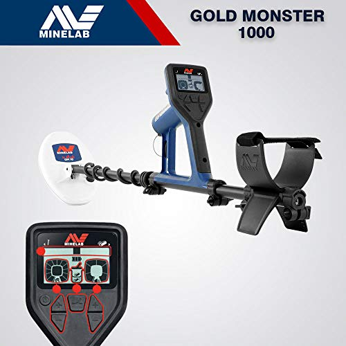Minelab Gold Monster 1000 cercametalli Professional Metal Detector Pinpointer Plate 10 'X 6' DD + 5 'DD For The Detection of Gold and Precious Metals + Headset + Rechargeable Batteries + Battery Charger Home/Car + Digging Scoop