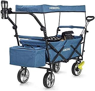 Hoberg Premium folding cart incl. roof (LSF30) | cup holder, coolbag, brakes, cart, transport trolley [80kg load capacity...