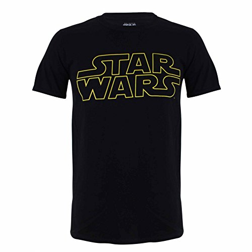 Star Wars Basic Logo Camiseta, Negro, XL para Hombre