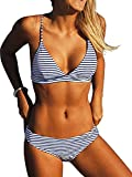 CUPSHE Women Stripe Printing Bikini Set Beach Bathing...