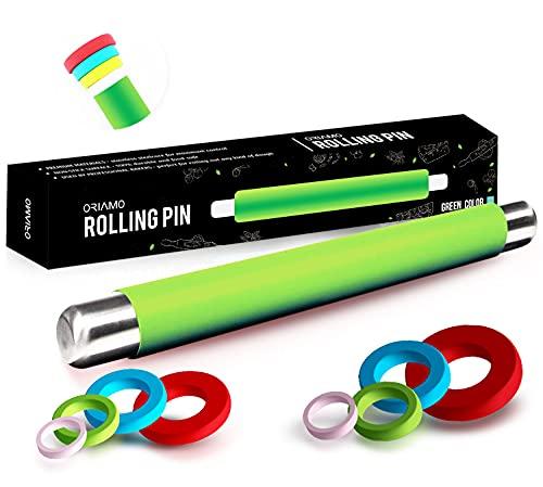 Oriamo® Silikon Teigrolle - Antihaft Nudelholz - BPA freie Fondant Rolle für Pizza & alle weiteren Teigwaren - Der Teigroller kommt in Einer edlen Geschenkverpackung (Grün)
