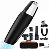 BOLWEO Mini Car Vacuum Cleaner Cordless, 7Kpa Portable Small Handheld Vacuum, Wet Dry Lightweight Rechargeable Bagless Hand Vac Buster for Dog Cat Pet Hair, Car Home Carpet Dust Cleaning