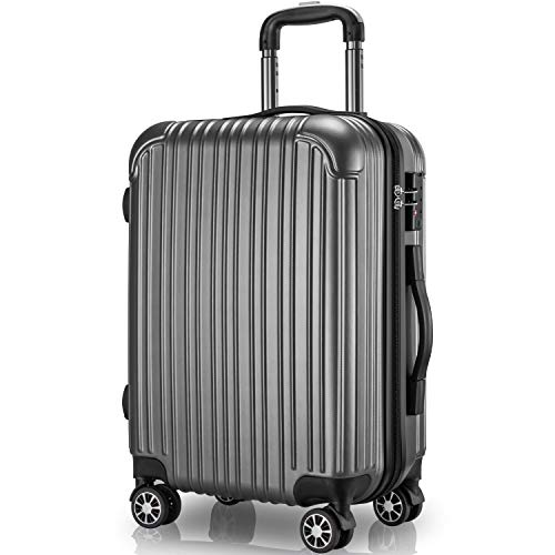 VARNIC スーツケース キャリーケース キャリーバッグ 機内持込 PC材質 耐衝撃 大型 超軽量 静音ダブルキャスター TSAロック搭載 旅行 出張 (L サイズ(97L), 灰)