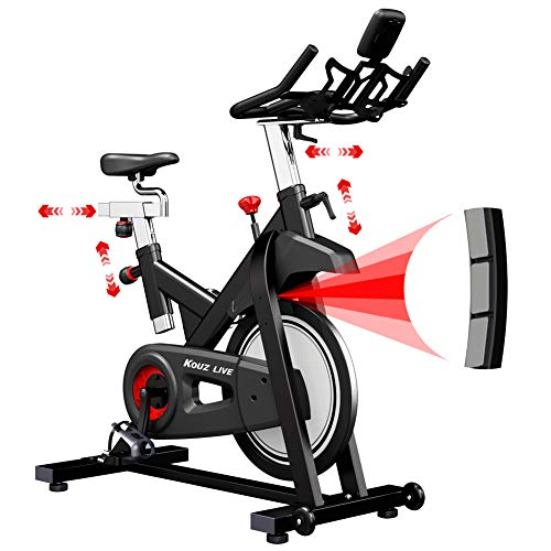 KOUZ LIVE Magnetic Resistance Exercise Bike, Indoor Stationary Bikes for Home Workout, Quiet Belt Drive with LCD Monitor & Professional Seat & Ipad Mount 330lb Capacity Spin Cycle