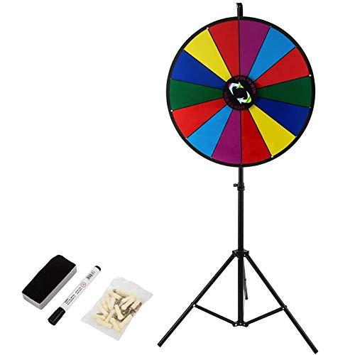 VEVOR 48 cm lyckohjul leksak färg hjul spel för lotterispel ordspel, 18 tums lyckohjul för vridning akrylplatta med PVC-skum, 54 x 54 x 11 cm prishjul Lucky Wheel lyckospel