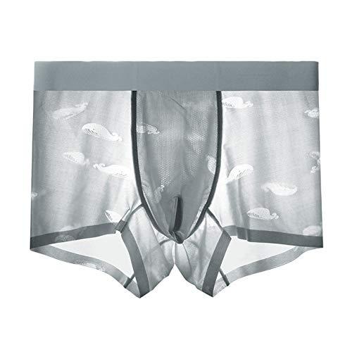 Calzoncillos Para Hombre Boxer,Los Hombres Underwear Boxers Shorts De Seda De Hielo Transparente Calzoncillos Transpirable Convexo U Funda Bikini Sexy Bragas Boxer Masculino Shorts Casual Masculino