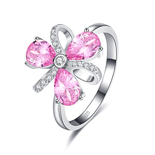 PAKULA Silver Plated Women Simulated Pink Topaz Flower Ring Size 6