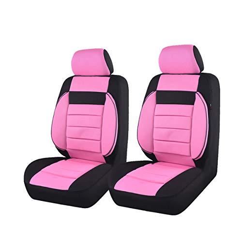 Coche Pass–6pcs Elegance Universal Automobile Juego de fundas para asientos delanteros package-fit para vehículos, negro y gris con compuesto esponja interior, Airbag Compatible