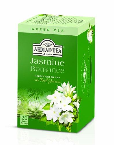 Ahmad Tea – Jasmine Romance | Grüner Tee mit Jasminblüten | 20 Teebeutel á 2 g | Teebeutel mit Band