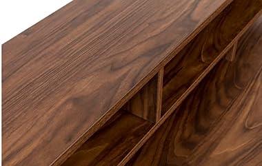 Chelsea Modern Work Desk with 2 Shelves Metal Legs Particle Board & MDF- Walnut