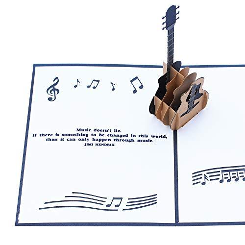 3D Pop-Up-Gitarren-Karte mit Jimi Hendrix Musik-Zitat, tolles Geschenk für Gitarrenspieler, Musiker oder Musikliebhaber für einen Geburtstag oder andere Anlässe, Schwarz/Weiß (13 x 16 Zoll)