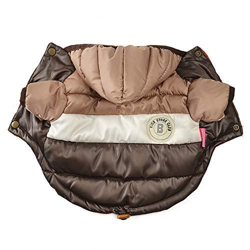 JULY\'S SONG Hundemantel Hundejacke Wasserdicht Winterjacke mit Kapuze Hundekleidung Gefüttert für Hunde Winter Herbst (XL, Braun)