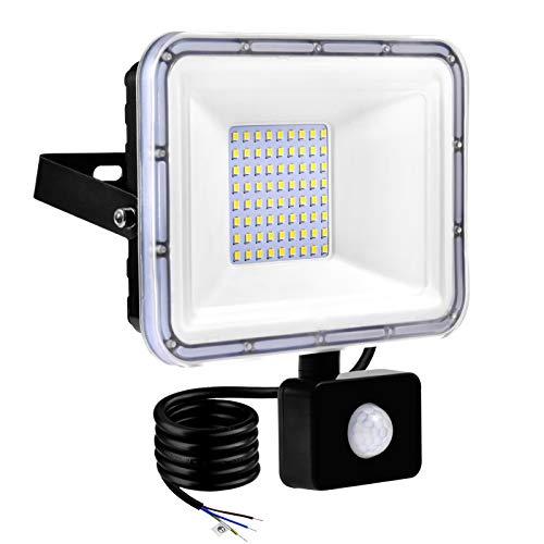TYCOLIT Faretto LED da Esterno con PIR Sensore di Movimento, 50W 5000 lumen Bianco Diurno 6000K, Proiettore Faretto da Esterno Impermeabile IP67 per Giardino, Corridoio, Illuminazione Esterna