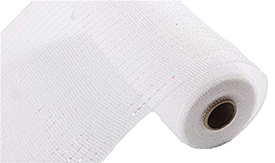 Floral Supply Online - 10 inch x 30 feet Metallic Deco Poly Mesh Ribbon (White/Iridescent, 10