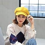 mlpnko Gorra de Lana en Color Liso Octogonal Gorra Hembra Salvaje Inglesa Pintor Sombrero Amarillo M (56-58cm)