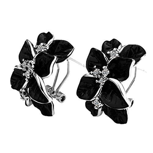 Onefeart Oro Plated Stud Pendientes Por mujeres Rosa Flor Forma Diamante de imitación Circonita Negro Plata 2.5CMx2CM