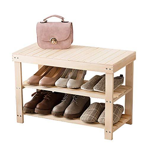 GENFALIN Banco de madera estante del zapato, de nivel 3 Puerta de entrada del organizador del almacenaje con asiento, estante for zapatos Botas, ideal for Pasillo cuarto de baño Corredor de estar Coci