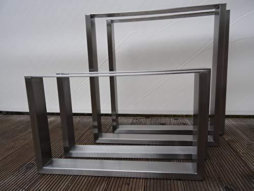 Generisch Tischkufen, Tischgestell U-Form, Tischbeine, Edelstahlkufen, Edelstahl Tischfüsse (3er Set für Bank 80x30, H=420, B=360 mm)