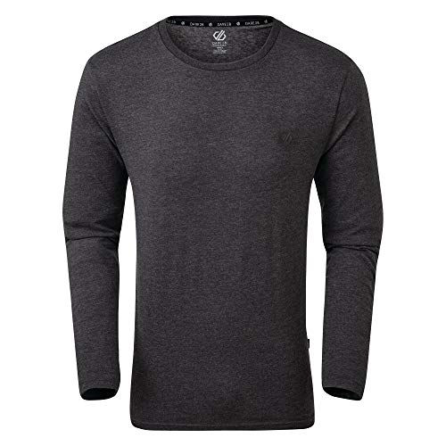 """Dare 2b Herren The Men\'s Overdrive Long Sleeve Tee-Made from Naturally Breathable Cotton Jersey with a Graphic Print. Shirt, CharcoalGrey, M-Chest 40\"""", (102cm)"""