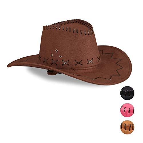 Relaxdays Cowboyhut Fasching, Westernhut, Erwachsene, im Westernstyle, Karneval, mit Kopfband, Faschingshut, dunkelbraun