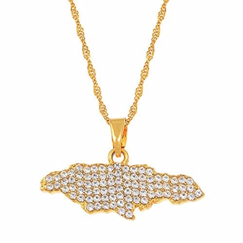 Collares con colgante de mapa de Jamaica para mujeres y niñas con joyas de diamantes de imitación regalos de joyería de Jamaica de color dorado