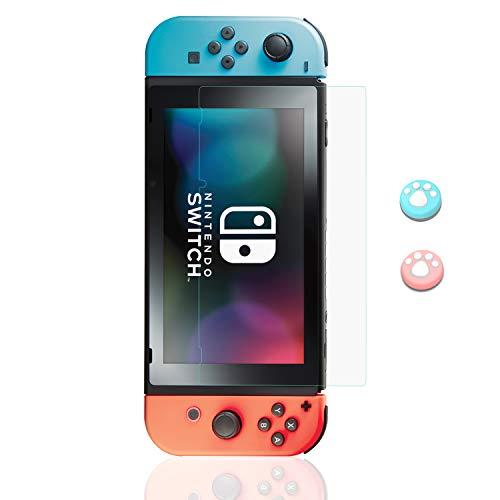 Lammcou Protector de Pantalla para Nintendo Switch Cristal Templado Pantalla con Tapas de Agarre para el Pulgar con Diseño de Garra de Gato, Alta Definicion, 9H, Anti-Arañazos Switch Screen Protector