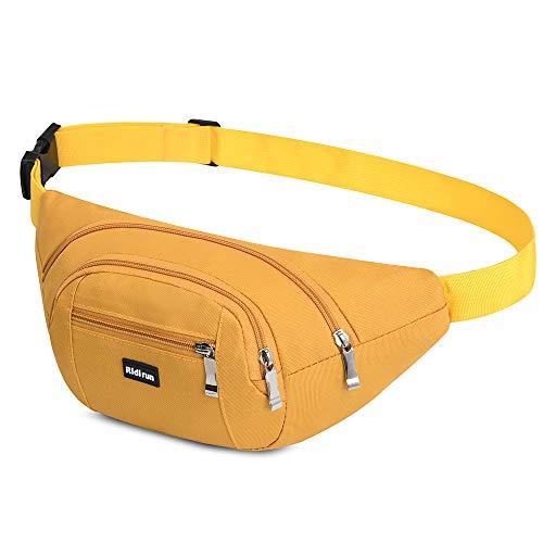 Resistente al Agua riñonera Bolsa de Cintura 4 Bolsillos con Cremallera Bolsa riñonera de Viaje Senderismo al Aire Libre Deporte Vacaciones Dinero Bolsa de Cadera Paquete (Amarillo)