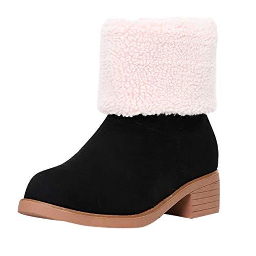 Cobcob Botas de nieve para mujer, botas cortas con forro de piel, tacón grueso, cierre de cierre, calzado al aire última intervensión, Negro, 6, 1