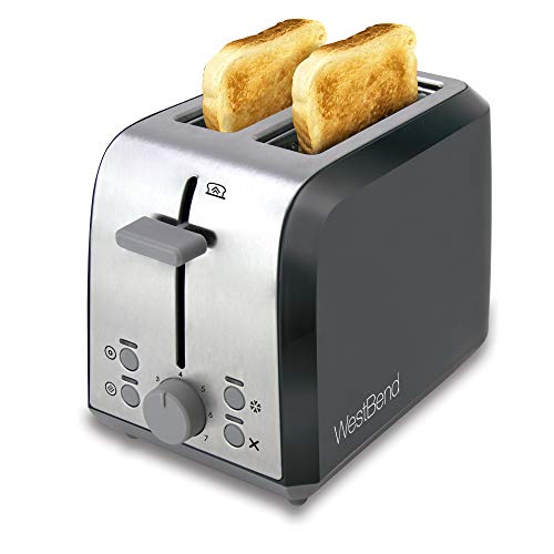 West Bend 78823 2 Slice Toaster with Extra Wide Slots Bagel Settings Ultimate Toast Lift and Removable Crumb Tray, Silver