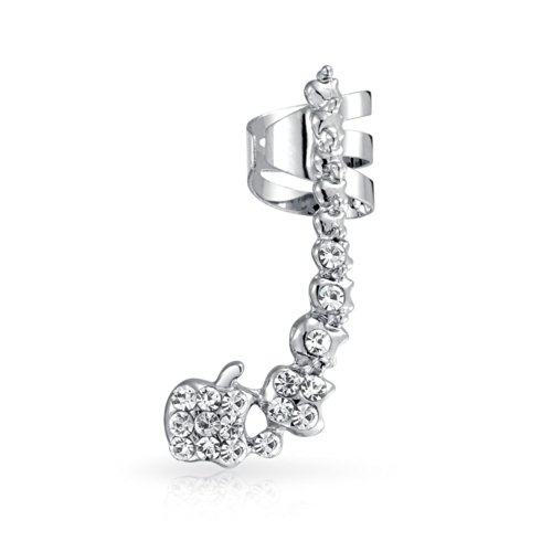 Pave Encrusted Cartilage Left Ear Cuff Wrap Clip Graduated Crystal Climber Crawler Lobe Helix Earring Stainless Steel