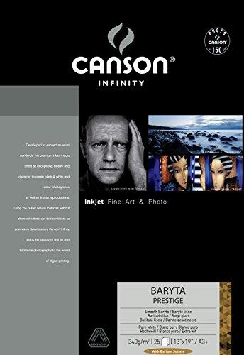 CANSON Infinity Baryta Prestige A3plus 340GSM Smooth White Inkjet Papier (Box von 25Blatt)