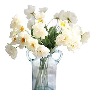 Calcifer 20 Pcs 53CM Silk Corn Poppies Artificial Poppy Flowers for Home Garden Wedding Party Decoration Bridal Bridesmaid Bouquets (White)