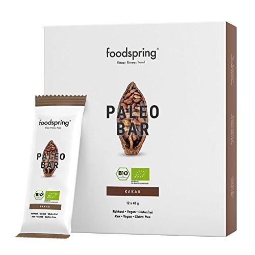 foodspring Bio Paleo Bar pacchetto da 12, Cacao, Solo 4 ingredienti 100% naturale