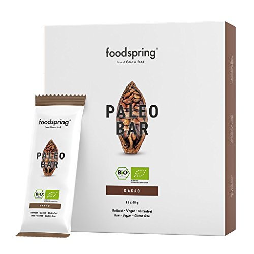 foodspring Bio Paleo Bar, Kakao, 12er Pack Fruchtriegel, Veganer Rohkost-Riegel