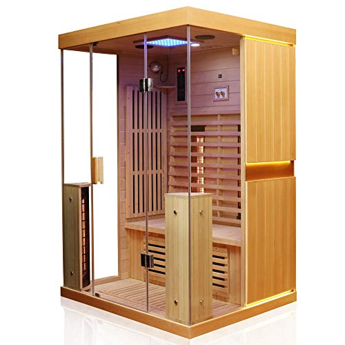 Dewello Infrarotkabine KINGSTON 130cm x 105cm für 1-2 Personen aus Hemlock Holz mit verstellbaren Vollspektrumstrahlern