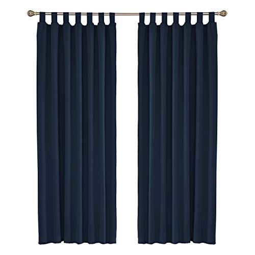 Amazon Brand – Umi Cortinas de Salon Modernas para Ventana Dormitorio Termicas Aislantes con Trabillas 2 Piezas 140 x 245 cm Azul Marino