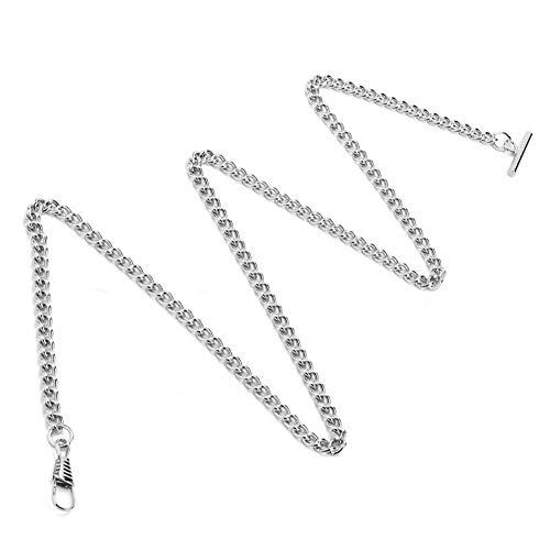 VINGVO Cadena de Reloj, Cadena de Reloj de 65cm T Cadena de Reloj de Bolsillo Retro para Decorar para Accesorios de Reloj(Silver)