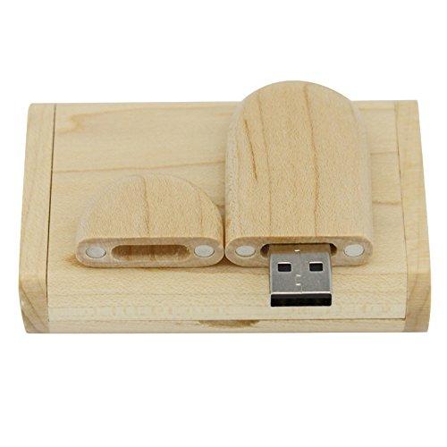 Yaxiny, chiavetta USB 2.0 in legno d'acero, con scatola di legno 2.0 2.0/4GB