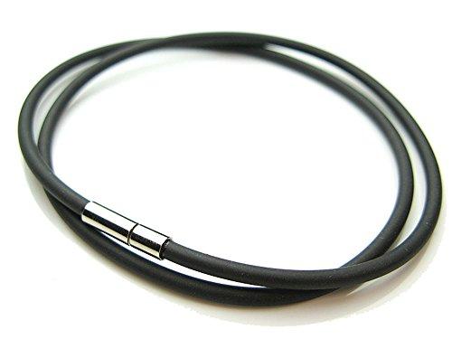 [シルバーワン] 簡単ワンプッシュ ラバー チョーカー 3mm 50cm メンズ ブラック(黒)パンク ネックレス