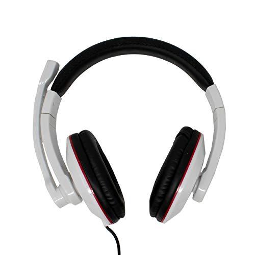 Preisvergleich Produktbild Headset über Ohr-Stereo-Kopfhörer mit Mikrofon für PC,  Laptop,  Spiele,  Musik,  Skype,  Video Chat / 2 x 3, 5 mm Klinke / Weiß / iCHOOSE