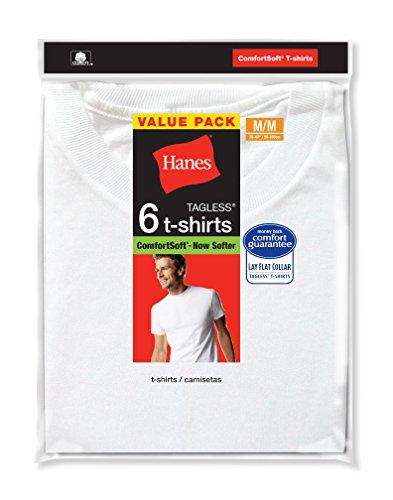Hanes Men's 6-Pack FreshIQ Crew T-Shirt, White, Large