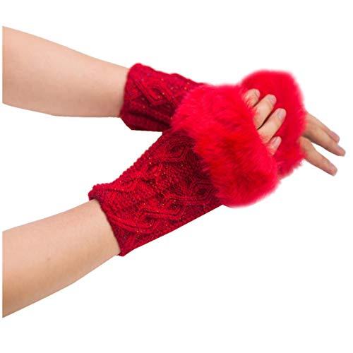 CCLIN Manoplas de Piel de Conejo Mujer niña Invierno Guantes sin Dedos Mantener Caliente Invierno muñecas de Punto Mitones Nv6-rojo