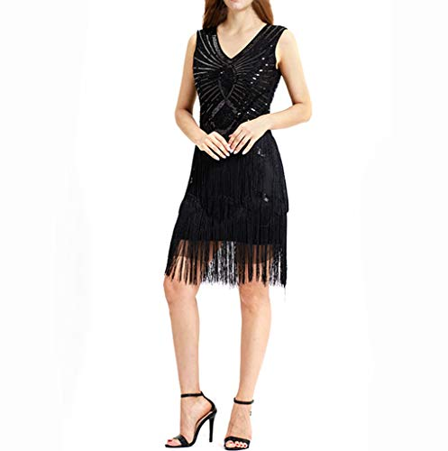 Longra Damen Kleider Retro 1920er Stil Flapper Kleider mit Zwei Schichten Troddel V Ausschnitt Great Gatsby Motto Party Kleider Ärmellos Pailetten Kleid für Faschingskostüme