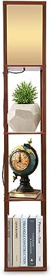 Lampadaire en Bois, Lampadaire avec 3 Etagères Lampe de Chevet avec Abat-jour Lampe sur Pied Lampe de Plancher Lampe Étagère Lumière Décoration pour Salon Chambre à Coucher Hôtel Café 160x 26x26cm